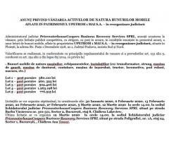 ANUNŢ PRIVIND VÂNZAREA ACTIVELOR DE NATURA BUNURILOR MOBILE  UPETROM 1 MAI